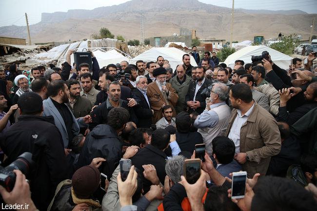 Ayatollah Khameneii visits villages in the quake-hit province of Kermanshah.
