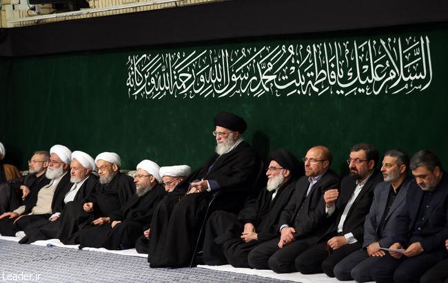 دومین شب عزاداری فاطمی در حضور رهبر انقلاب/ حضور دو رئیس قوه در غیاب روحانی